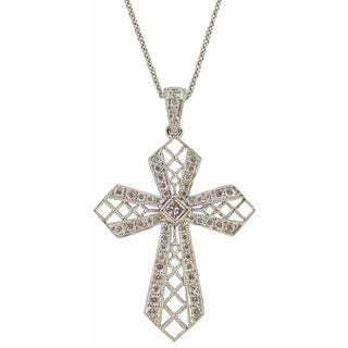 Kabella 18k White Gold 1/2ct Diamond Cross Necklace (G-H, SI1-SI2)