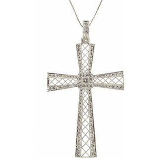 Kabella 18k White Gold 1 1/2ct TDW Diamond Cut-out Cross Necklace (G-H, SI1-SI2)