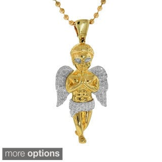 Sterling Silver 0.28ct TDW Diamond Angel Pendant