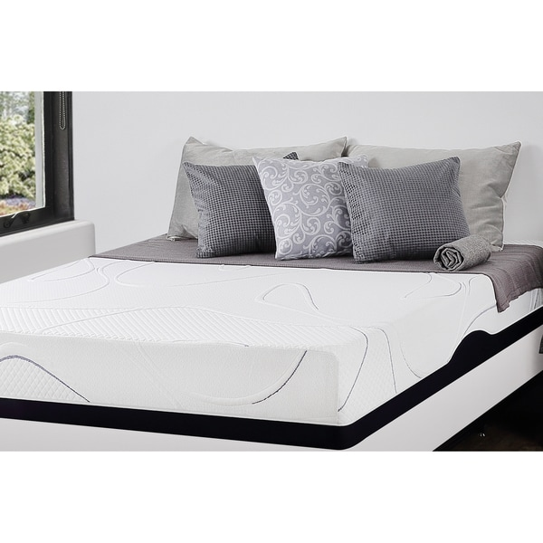 shop priage 10 inch full size gel memory foam mattress white free shipping today overstock. Black Bedroom Furniture Sets. Home Design Ideas