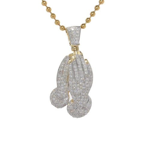 10K Yellow Gold 0.95ct TDW Diamond Praying Hand Pendant