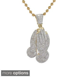 10K Yellow Gold 0.95ct TDW Diamond Praying Hand Pendant (Option: Plus Size)