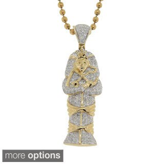10K Gold 0.45ct TDW Diamond Egyptian Mummy Head Pendant