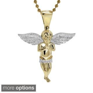 10K Gold 0.35ct TDW Diamond Angel Pendant
