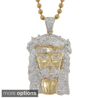 10K Gold 1/4ct TDW Diamond Jesus Necklace