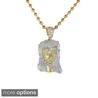 10K Gold Pave-set Diamond Jesus Pendant (Option: 29 Inch)