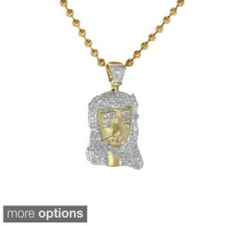 10K Gold Pave-set Diamond Jesus Pendant