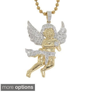 10K Gold 0.55ct TDW Diamond Angel Pendant (G-H, I2- I3)