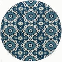 Alise Rugs Garden Town Transitional Floral Round Area Rug - 7'10 x 7'10