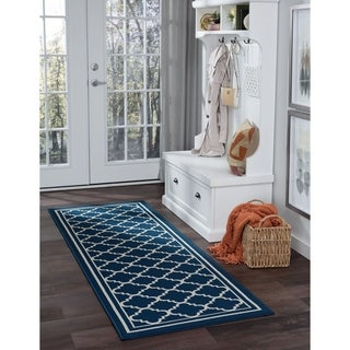 Alise Rugs Garden Town Transitional Moroccan Tile Runner Rug - 2'7 x 7'3