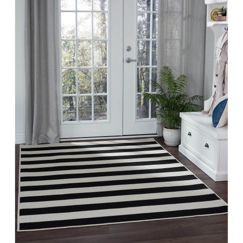 Alise Rugs Garden Town Transitional Stripe Area Rug - 5'3 x 7'3