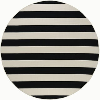 Alise Rugs Garden Town Transitional Stripe Round Area Rug