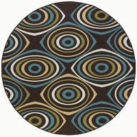 Alise Rugs Garden Town Transitional Geometric Round Area Rug - 7'10 x 7'10