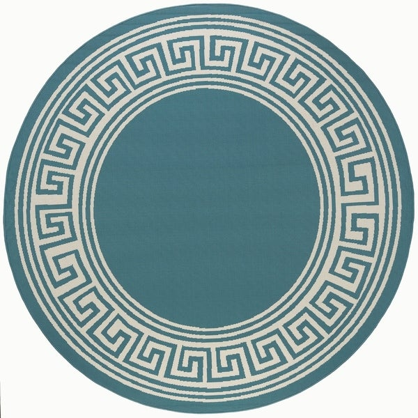 Alise Rugs Garden Town Transitional Greek Key Round Area Rug