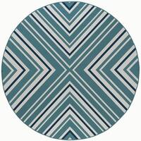 Alise Rugs Garden Town Transitional Chevron Round Area Rug