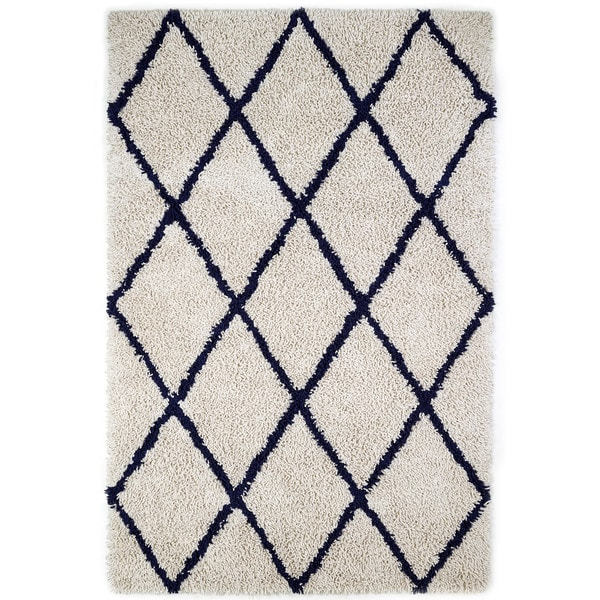 Jani Ivory and Navy Blue Eco Silky Shag Rug (5' x 8')