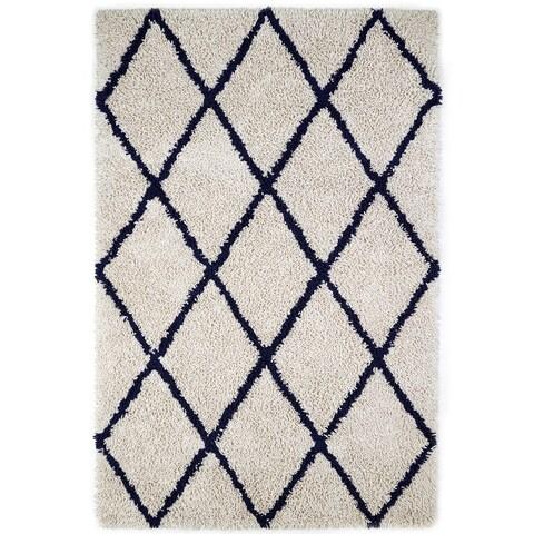 Jani Ivory and Navy Blue Eco Silky Shag Rug
