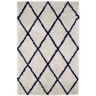 Jani Ivory and Navy Blue Eco Silky Shag Rug (5' x 8')