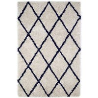 Jani Ivory and Navy Blue Eco Silky Shag Rug - 5' x 8'