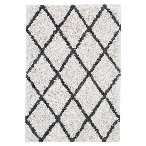 Jani Shag Ivory and Graphite Grey Eco Silky Shag Rug