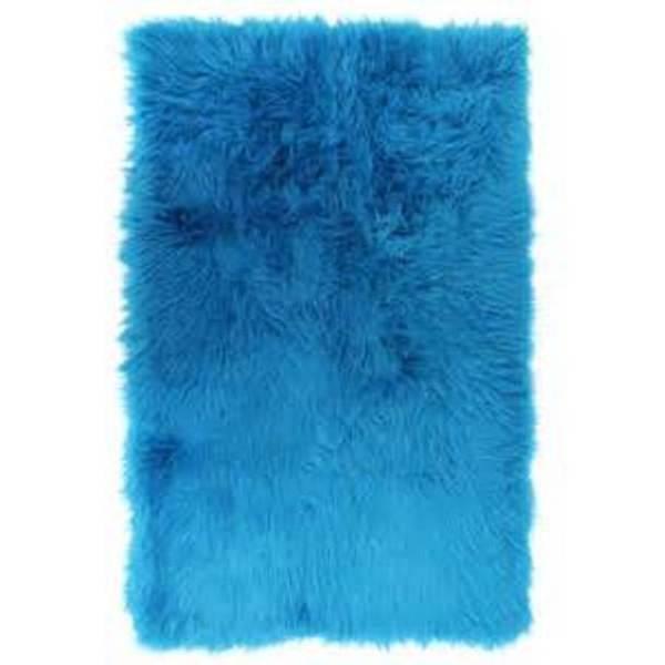 "Faux Fur Turquoise Sheepskin Shag Area Rug (30"" X 46"