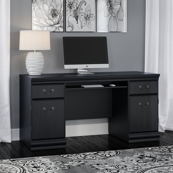Copper Grove Varna Credenza Desk with Keyboard Tray and Storage in Black