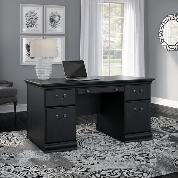 Copper Grove Varna 60-inch Executive Desk in Antique Black