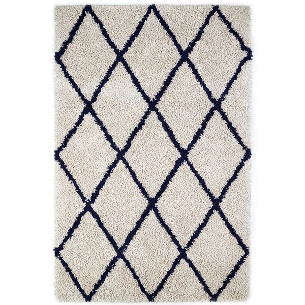 Jani Ivory and Navy Blue Eco Silky Shag Rug - 9' x 12'