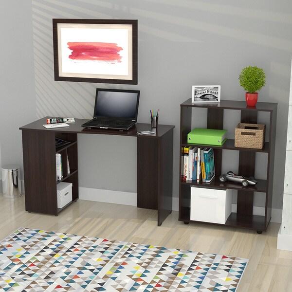 Inval America Espresso Curved Top Writing Desk/ Bookcase Set