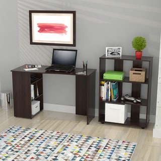 Inval America Espresso Curved Top Writing Desk/ Bookcase Set