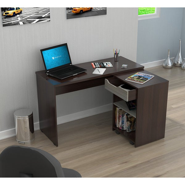Inval America Espresso Desk with Swing-out Storage - Free Shipping