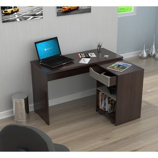Inval America Espresso Desk with Swing-out Storage