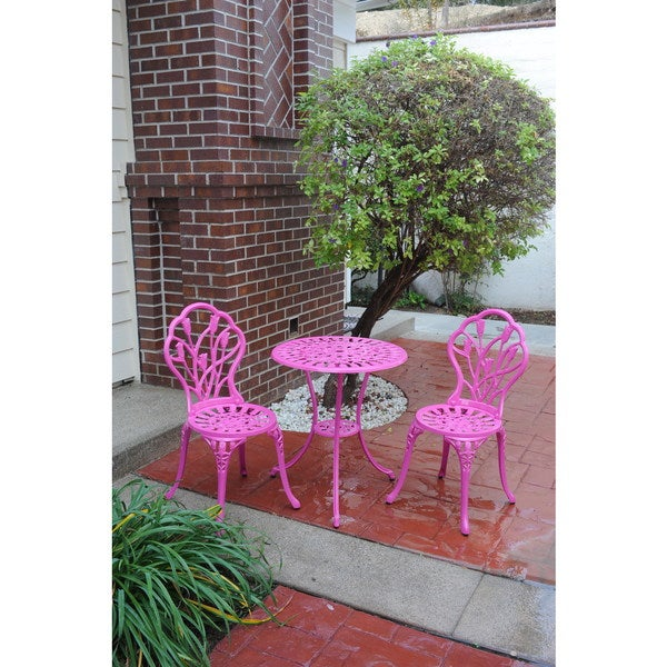 Shop Somette Pink Tulip Cast Aluminum Outdoor 3 Piece