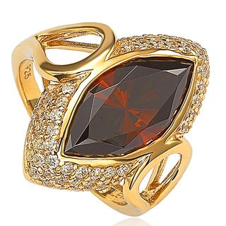 Suzy Levian Sterling Silver Brown Marquise Cubic Zirconia Ring