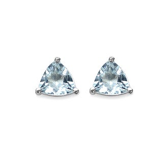 Malaika Sterling Silver 1/3ct TGW Aquamarine Stud Earrings