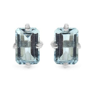 Malaika Sterling Silver 1ct Aquamarine Stud Earrings