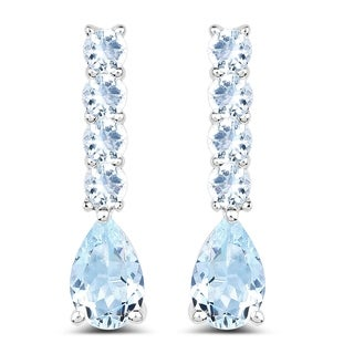 Malaika 2.40 Carat Genuine Aquamarine .925 Sterling Silver Earrings