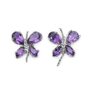 Malaika 1.16 Carat Genuine Amethyst .925 Sterling Silver Earrings