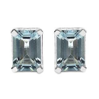 Malaika 1.04 Carat Genuine Aquamarine .925 Sterling Silver Earrings