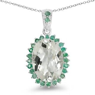 Malaika Sterling Silver Green Amethyst/ Emerald 5.8ct TGW Pendant