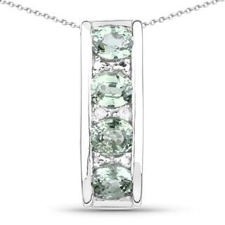Malaika Sterling Silver Green Sapphire .99 TGW/ Diamond Accent Pendant