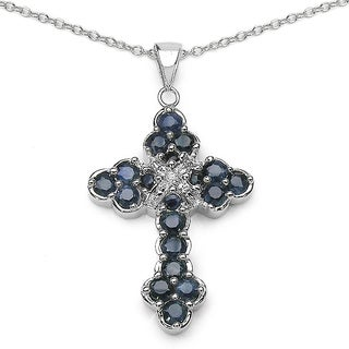 Malaika Sterling Silver Blue Sapphire/ 2.29 TGW Diamond Accent Cross Pendant