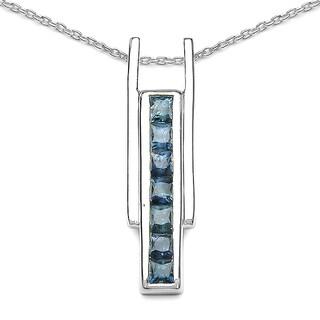 Malaika Sterling Silver Blue Sapphire 1ct TGW Bar Pendant