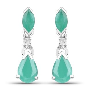 Malaika 1.12 Carat Genuine Sakota Emerald and White Diamond 10K White Gold Earrings