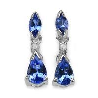 Malaika 1.06 Carat Tanzanite and White Diamond 14K White Gold Earrings