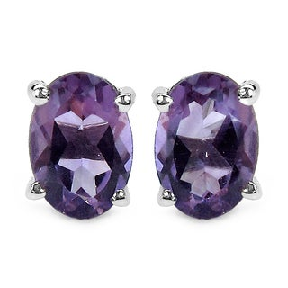 Malaika 1.60 Carat Genuine Amethyst .925 Sterling Silver Earrings