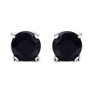 Malaika 1.20 Carat Genuine Black Sapphire .925 Sterling Silver Earrings