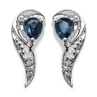 Malaika 0.41 Carat Genuine Blue Sapphire and White Diamond .925 Sterling Silver Earrings