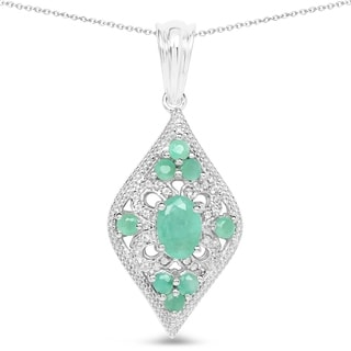 Malaika 1.43 Carat Genuine Emerald and White Topaz .925 Sterling Silver Pendant