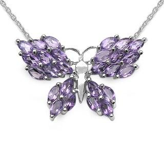 Malaika Sterling Silver Amethyst 3.9ct TGW Butterfly Pendant